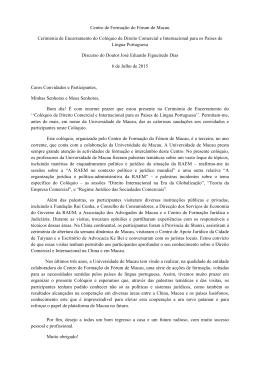 Discurso do Dr. José Eduardo Figueiredo Dias