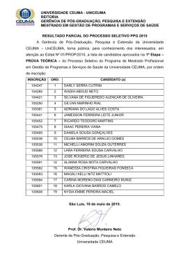 RESULTADO PRIMEIRA ETAPA 2015 ordem de insc