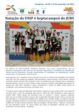 Natação da UNIP é heptacampeã do JUBS