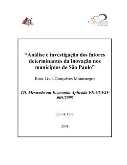 """""""Análise e investigação dos fatores determinantes da inovação nos"""