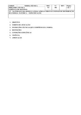 nt-002 materiais para redes e linhas aéreas urbanas e rurais de