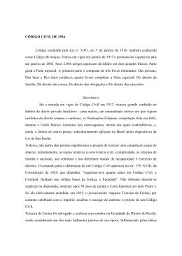 CÓDIGO CIVIL DE 1916 Código instituído pela Lei n