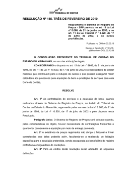 RESOLUÇÃO Nº 155, TRÊS DE FEVEREIRO DE 2010.