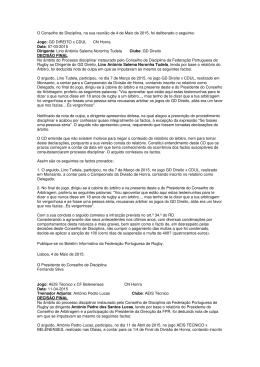 Deliberações Processo Disciplinar 4 Maio 2015