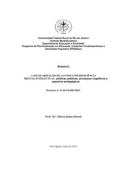 Relatório Final FAPERJ – Edital Apoio a projetos de pesquisa