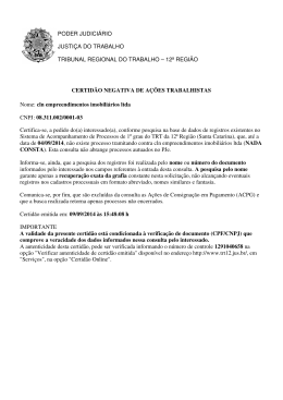 PODER JUDICIÁRIO JUSTIÇA DO TRABALHO