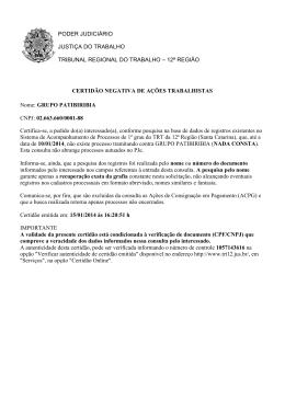PODER JUDICIÁRIO JUSTIÇA DO TRABALHO TRIBUNAL