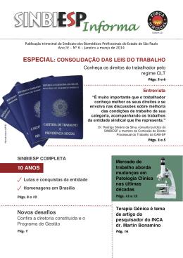 SINBIESP Informa Ano IV - Nº 6 Jan. a Mar. de 2014
