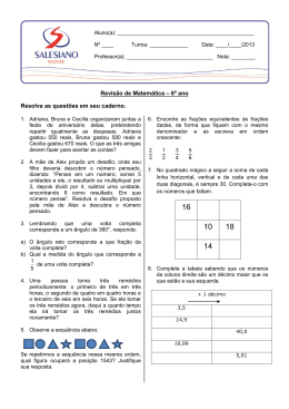 Revisão de Matemática – 6º ano Resolva as questões em seu