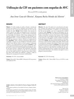 Utilização da CIF em pacientes com sequelas de AVC