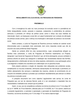 Regulamento da Loja Social - Junta de Freguesia de Paranhos