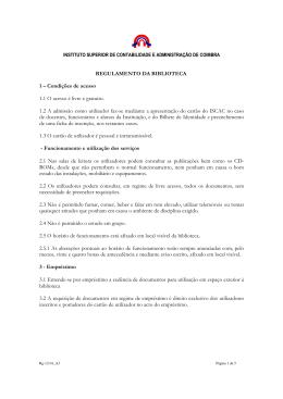 REGULAMENTO DA BIBLIOTECA 1 – Condições de acesso