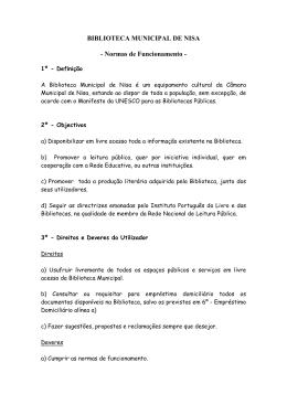 Normas de Funcionamento da Biblioteca Municipal de Nisa