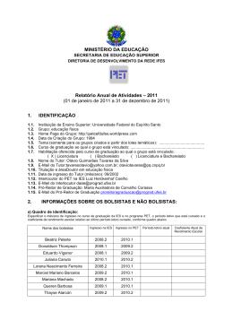 MINISTÉRIO DA EDUCAÇÃO Relatório Anual de - PET-EF