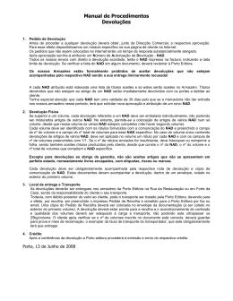 Manual de Procedimentos Devoluções