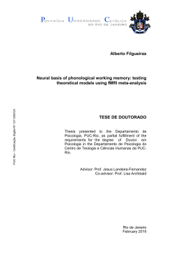 Alberto Filgueiras Neural basis of phonological working memory