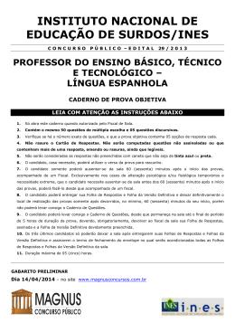 Prova E.B.T e Tec - Espanhol