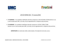 LISTA DE ESPERA 2013 – 2º semestre/2013 1ª CHAMADA