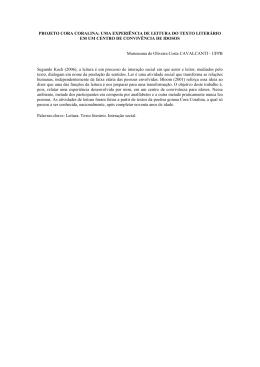 PROJETO CORA CORALINA: UMA EXPERIÊNCIA DE LEITURA DO