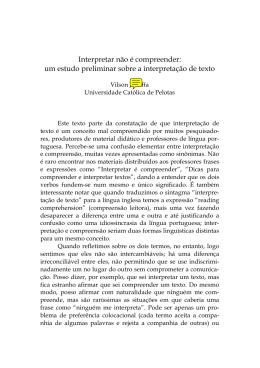 Interpretar não é compreender: um estudo