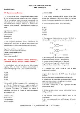 MÓDULO DE EXERCÍCIOS - GENÉTICA www.TioRonni.com Nome