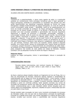 COMO ENSINAR LÍNGUA E LITERATURA NA EDUCAÇÃO BÁSICA