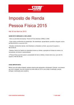 Imposto de Renda Pessoa Física 2015
