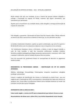 DECLARAÇÃO DE IMPOSTO DE RENDA – 2015
