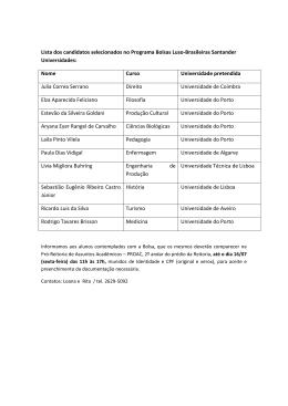 Lista dos candidatos selecionados no Programa Bolsas Luso