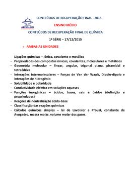 CONTEÚDOS DE RECUPERAÇÃO FINAL