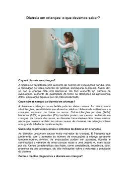 Diarreia em crianças: o que devemos saber?