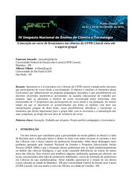 A inovação no curso de licenciatura em ciências da UFPR Litoral