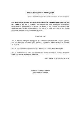 RESOLUÇÃO CONEPE Nº 004/2014 R E S O L V E:
