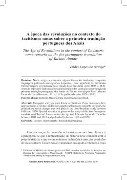 notas sobre a primeira tradução portuguesa dos Anais