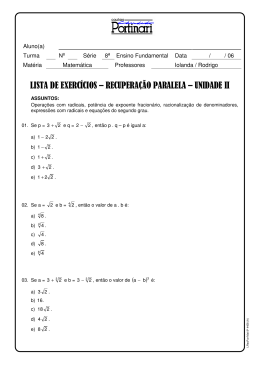 LISTA DE EXERCÍCIOS – RECUPERAÇÃO PARALELA – UNIDADE II
