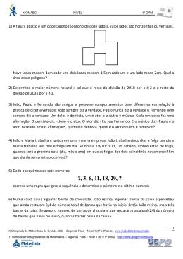 1) Um número natural N deixa resto 1 quando dividido por 3 e resto