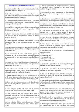 EXERCÍCIOS — REGRA DE TRÊS SIMPLES 01