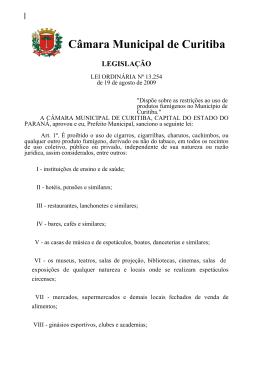 Câmara Municipal de Curitiba LEGISLAÇÃO