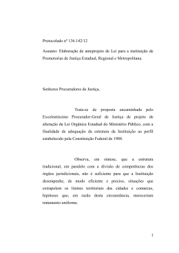 1 Protocolado nº 136.142/12 Assunto: Elaboração de anteprojeto de