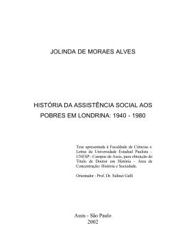 História da Assistência Social aos Pobres em Londrina: 1940