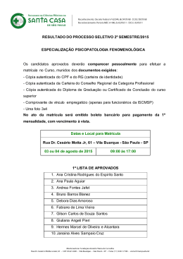 processo seletivo 1º semestre/2014