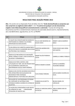 Resultado Final PROBIC - Pro-Reitoria de Pesquisa e Pós