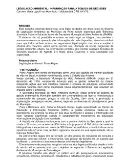 LEGISLAÇÃO AMBIENTAL - INFORMAÇÃO PARA A