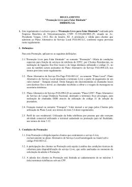 """REGULAMENTO """"Promoção Livre para Falar Ilimitado"""" EMBRATEL"""