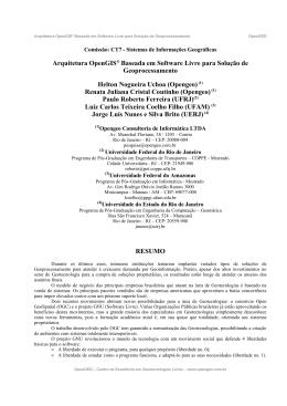 Arquitetura OpenGIS® Baseada em Software Livre para Solução de