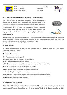 PHP: Software livre para páginas dinâmicas e banco de