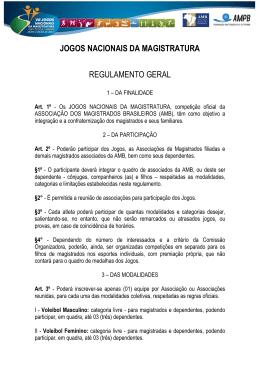 jogos nacionais da magistratura regulamento geral