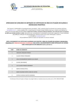 Alergia e Imunologia - Sociedade Brasileira de Pediatria