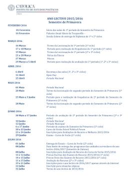 Calendário Académico Semestre de Primavera 2015/2016