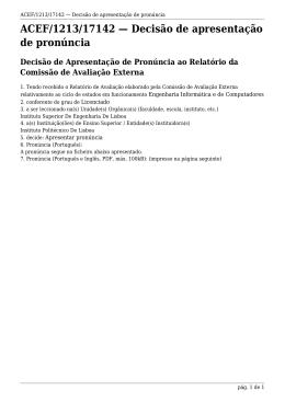 ACEF/1213/17142 Decisão de apresentação de pronúncia